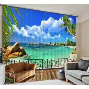 3D Printed Ocean Beach Palms Paradise curtains